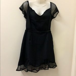 Black dinner dress with chiffon in size L